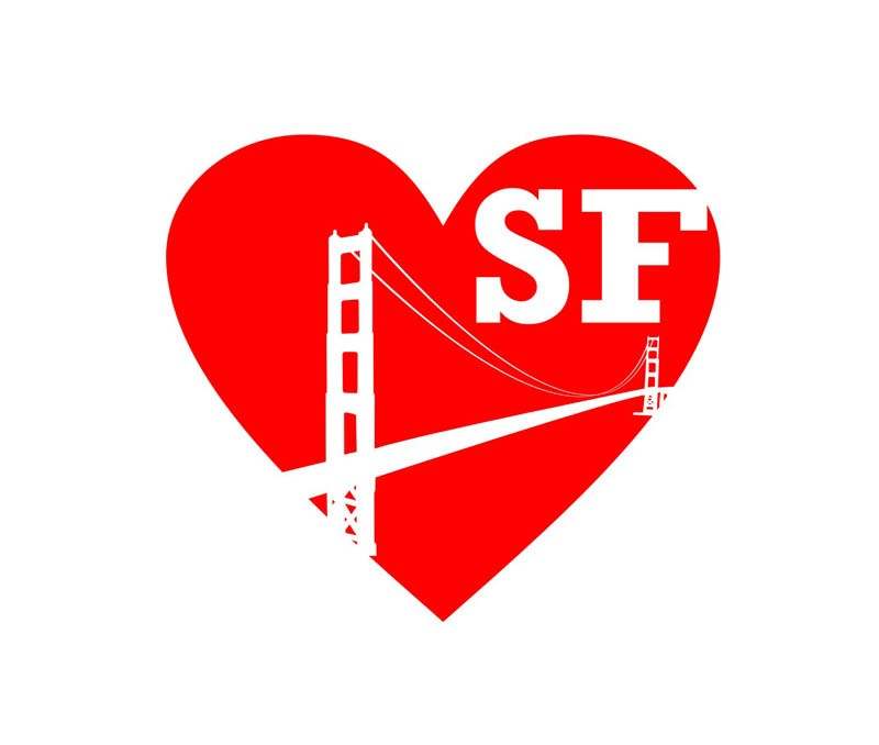 Love san francisco stickers2ouf sticker for Autocollant mural